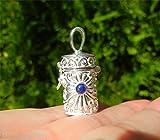 Pendentif boîte à prière, collier amulette, bijou talisman, port-bonheur, bijou protection, argent massif 925/1000, pierre lapis lazuli