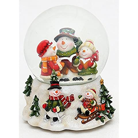 Bellisima palla di vetro con neve e scatola musicale. Disegno: Coro di pupazzi di neve, circa 14,5 x 13,5 cm / Ø 10 cm