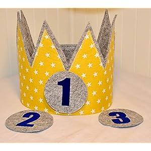 Geburtstagskrone Der Wollprinz Krone, Kinder Geburtstag-Krone Kinderkrone Geburtstagskrone, Stoffkrone Gelb/Gold mit austauschbaren Zahlen