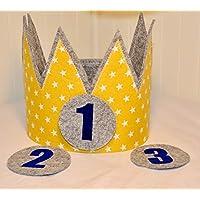 Geburtstagskrone Der Wollprinz Krone, Kinder Geburtstag-Krone Kinderkrone Geburtstagskrone, Stoffkrone Gelb/Gold