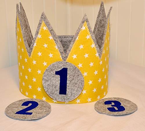 Geburtstagskrone Der Wollprinz Krone, Kinder Geburtstag-Krone Kinderkrone Geburtstagskrone, Stoffkrone Gelb/Gold mit den Zahlen 1, 2,3,4