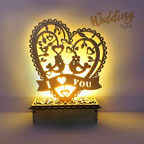 Folewr-8 Verschönerung - DIY Ornamente aus Holz Dekoration für Hochzeit mit LED-Licht - 3 Stile, 02 -