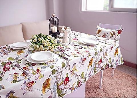 JuAnQ Baumwolle amerikanischen Dorf singen die Vögel und duftenden Blumen dicken weißen Tischdecken, 110 * 160