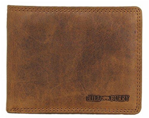 Hill Burry, LGHB6404, portafogli da uomo in vera pelle di qualità, per carte di credito, vintage, organizer da viaggio, colore marrone