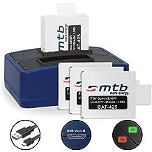4 Baterías + Cargador doble (USB) para cámara deportiva Qumox SJ5000(+), SJ5000X, SJ4000(+) / SJCam M10(+), X1000... - contiene cable micro USB