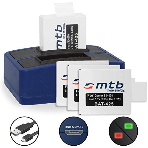 4 Akkus + Dual-Ladegerät (USB) für Qumox SJ5000(+), SJ5000X, SJ4000(+) / SJCam M10(+), X1000... - inkl. Micro-USB-Kabel - Wifi Sjcam 4000
