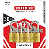 Interfer - Candado a/alto 25mm. juego 3 llaves i