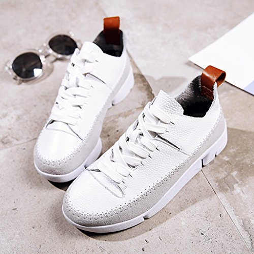 HWF Chaussures femme Chaussures de chaussures de sport femme printemps chaussures plates chaussures décontractées chaussures femmes ( Couleur : Gris , taille : 35 ) Blanc