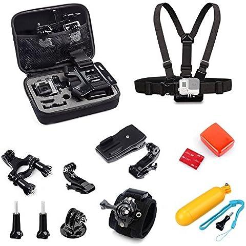 Lilware Accessori Kit per Camera GoPro con Portatil Custodia da Trasporto. Set di 9 Montaggio e Strumenti Hardware. Nero