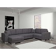 JUSThome Marco Sofá esquinero chaise longue Sofá de esquina función de cama Sofá-cama Tejido estructural (BxLxH): 145-206x303x86 cm Gris Brazo izquierdo