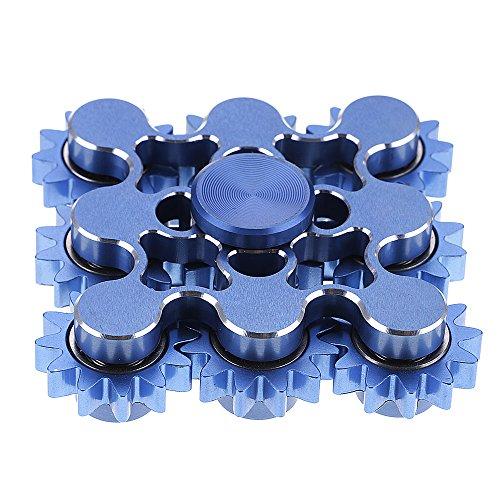 Preisvergleich Produktbild HuntGold Einzigartig 9 Zahnräder Hand Spinner Metall ADHS Angst Autismus Entspannung Fidget Spielzeug blau