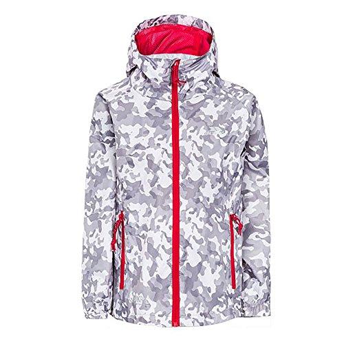 Trespass Qikpac Jacket Print, White Camo, 9/10, Kompakt Zusammenrollbare Wasserdichte Jacke für Kinder / Unisex / Mädchen und Jungen, 9-10 Jahre, Weiß (Schlitten Camo)