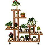 7 Niveaux Roulant Stand De Plantes Support À Plantes en Bois Naturel avec Roues Support De Patio avec Affichage Extérieur pour Plantes D'intérieur Bonsaï Pots Etagère À Fleurs pour La Maison Jardin