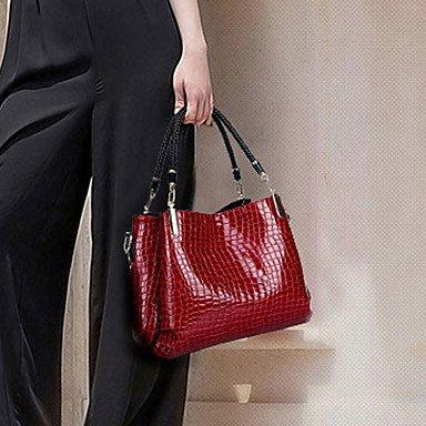 La donna pu / Brevetto canna in pelle borsa a tracolla / Tote - blu / rosso / nero,blu Black