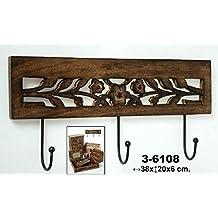 DonRegaloWeb - Perchero de pared de 3 ganchos de madera calada y metal. Medidas: 38cm x 20cm x 6cm