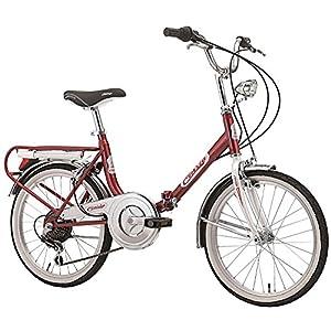"""51Z0kY%2BCIbL. SS300 Cicli Cinzia Bicicletta 20"""" Pieghevole Firenze 6/V Revo Shift V-Brake Alluminio, Rosso/Bianco, Unisex – Adulto"""