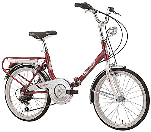 Cinzia Firenze 20-Inch Folding Bicycle 6-Speed, red/white