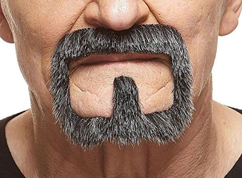 (Mustaches Selbstklebende Neuheit Van Dyke Fälscher Bart Falsch Gesichtsbehaarung Kostümzubehör für Erwachsene Salz und Pfeffer Farbe)