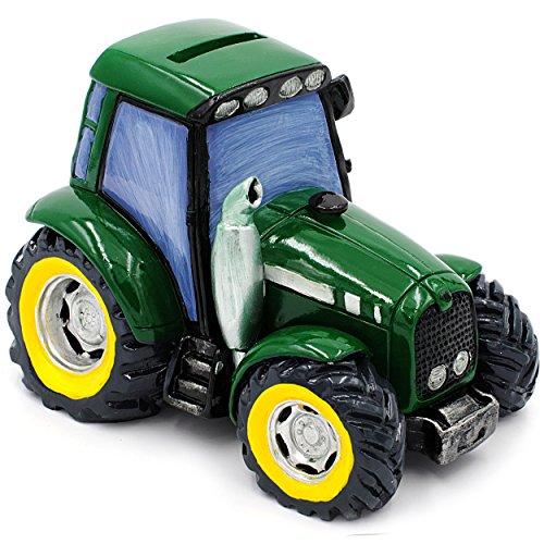alles-meine GmbH Große Spardose -  Traktor / Landmaschine - Fahrzeug - Grün  - Stabile Sparbü..