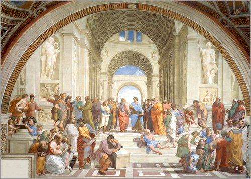 Poster 100 x 70 cm: Schule von Athen von Raffael - Hochwertiger Kunstdruck, Kunstposter