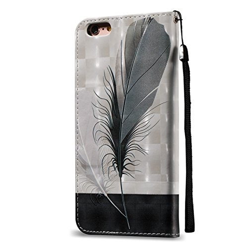 "MOONCASE iPhone 6 Plus / 6S Plus (5.5"") Coque,[Skull] Relief Motif Protection en PU Cuir Folio Housse Béquille Etui à rabat Case Cover avec Porte-cartes Fentes Fermeture Magnétique pour iPhone 6 Plus  Feather"