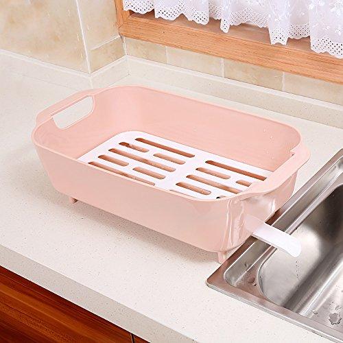 TYSM Regale Küchenregale Plastik Mit Wannen-Abfluss-Gestell-Gemüsegeschirr-Lagerregal (Farbe : Pink)