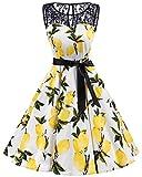 bbonlinedress 1950er Ärmellos Vintage Retro Spitzenkleid Rundhals Abendkleid Lemon 3XL