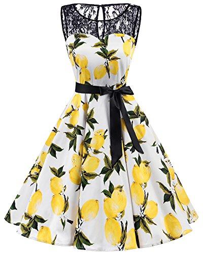 Bbonlinedress 1950er Ärmellos Vintage Retro Spitzenkleid Rundhals Abendkleid Lemon 4XL Kleidung Von 1950