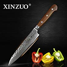 XINZUO 6 inch Utility Knife Slicing Hammered Forging Damascus Kitchen Knife Very Sharp Steak knife Knife Fashion Professional Fruit Knife Peeling Table Salad Knife Cultery with Rosewood Handle