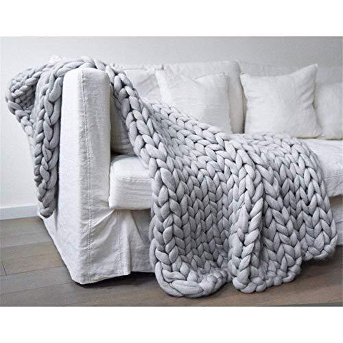 Manta de punto de lana de merino gruesa