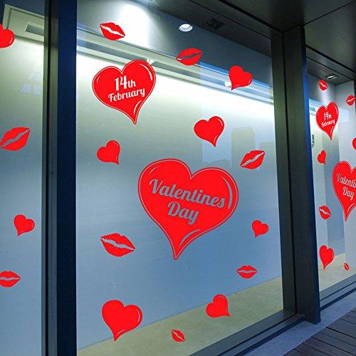 Adesivo colorato con cuori, per pareti e finestre, decalcomania per vetrine di negozi, per san valentino, fai da te, decorazione da parete, rimovibile., vinile, red, medium
