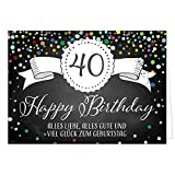 Große Glückwunschkarte XXL (A4) zum 40. Geburtstag - Tafel-Look Konfetti/mit Umschlag/Edle Design Klappkarte/Glückwunsch/Happy Birthday Geburtstagskarte/Extra Groß/Edle Maxi Gruß-Karte