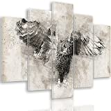 Feeby. Leinwandbild - 5 Teile - Bilder, Wand Bild, Wandbilder, Kunstdruck XXL, 5-Teilig, Typ A, 100x70 cm, EULE, NATUR, VINTAGE, SCHWARZ-WEIß