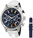 Nautica Herren Chronograph Quarz Uhr mit Leder Armband NAI18516G