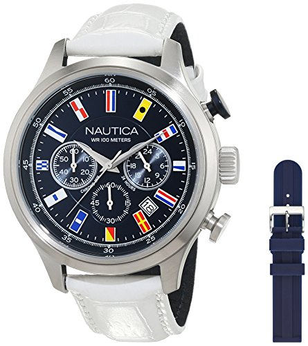 Nautica Homme Chronographe Quartz Montre avec Bracelet en Cuir NAI18516G