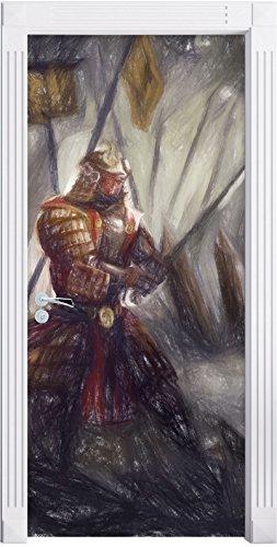 Kampf zwischen Samurai und Ninja Kunst Buntstift Effekt als Türtapete, Format: 200x90cm, Türbild, Türaufkleber, Tür Deko, (Buntstift Kostüm Ein)