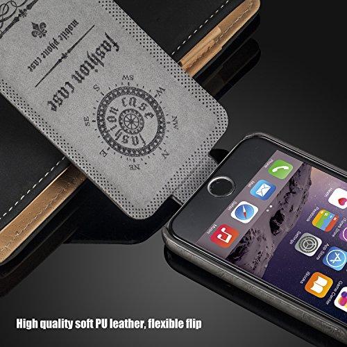 tinxi® premium PU Kunstleder Tasche Schutzhülle für Apple Iphone 6 6s(4,7 Zoll) Schutz Hülle Wallet Rückschale Etui Case Kartenfächer Cover mit Lanyard und Standfunktion in schwarz grau_1