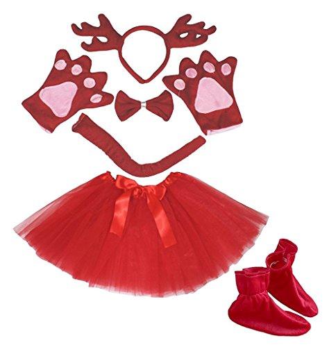 Kostüm Deer Schwanz - Petitebelle 3D-Stirnband Bowtie Schwanz Handschuhe Rock Schuhe 6pc Mädchen-Kostüm Einheitsgröße 3D Rot Deer Rentier