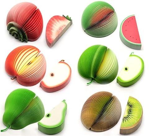 CKB Ltd Set of 6 Mixed Novelty 3D Fruit Shape Memo Note Pads Unusual Gift Office Notepad