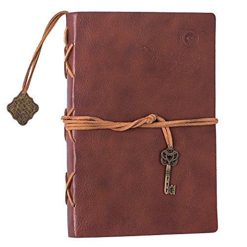 Firbon Cubierta de cuero de la vendimia retro Notebook llave mágica Cadena 130 en blanco Jotter Diary