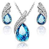 Swarovski Elements Unique Two Piece Jewelry Set White Gold Necklace And Earrings Set -GF-020