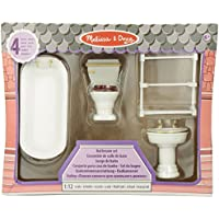 Melissa & Doug Classic Wooden Doll's House Bathroom Furniture (4 pcs) - Tub, Sink, Toilet, Towel Rack