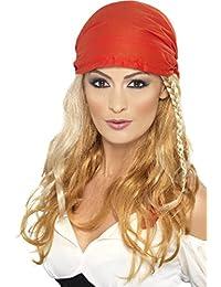 Smiffys  -  SM42428  -  Perruque Princesse Pirate Jaune Avec Bandana   - Taille Unique