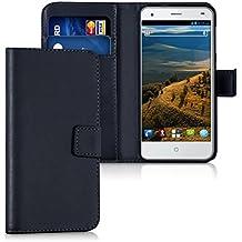 kwmobile Funda para ZTE Blade S6 4G LTE - Wallet Case plegable de cuero sintético - Cover con tapa tarjetero y soporte en negro