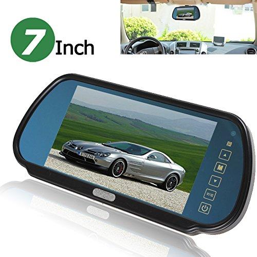 BW 7 Zoll 16:9 TFT LCD Widescreen Auto Rückspiegel Spiegel Monitor für Rückfahrkamera mit Touch Tasten, 480 (B) × 234 (H) Bildschirmauflösung, Auto / Auto Rückspiegel Monitor unterstützt zwei Video Ausgang, V1/V2 Auswahl