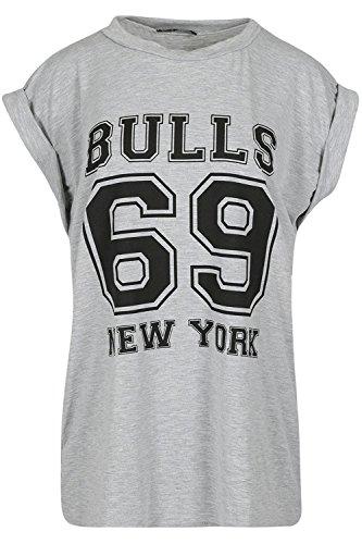 Be Jealous Damen drehen oben Bulls 69 Newyork Hülsen-Stiere 69 Newyork-Uni-übergroße Baggy-T-Shirt Oberseite Bull 69 Grey - Gymming Short Sports Jersey Top