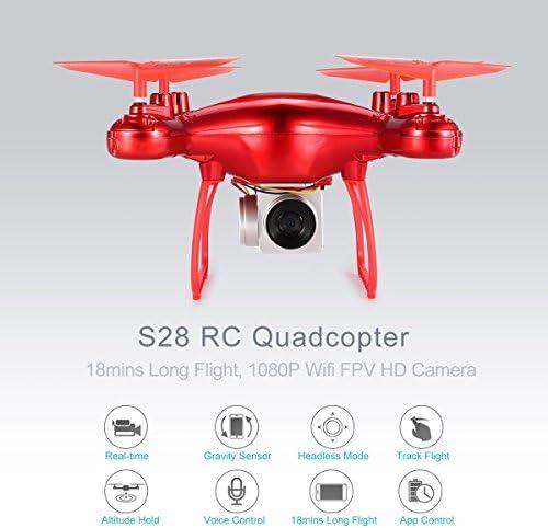 Gugutogo S28 RC Drone 2.4G Selfie Quadcopter Aéronef avec 1080p HD WiFi FPV Caméra Altitude Tête sans tête 3D Flip 18min Long vol (Couleur: Rouge) | Sélection Large