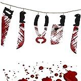 German Trendseller® - guirlande de halloween┃couteau-, scie-, pince- chaîne ensanglanté┃ horreur┃180 cm┃décoration de fête ┃extra saignante