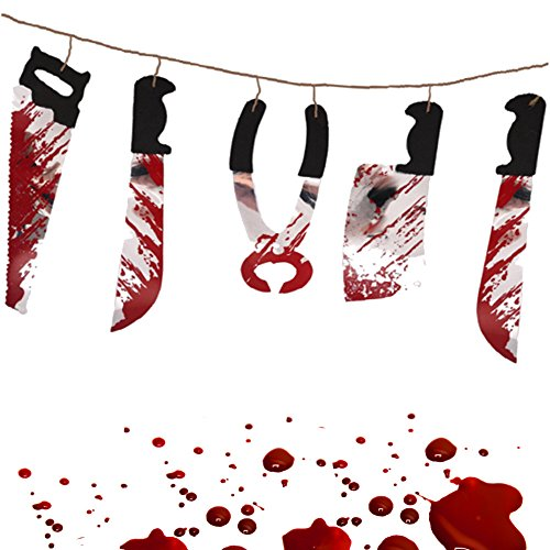 - Girlande - Messer - Blut & Horror NEU┃ 180 cm ┃ Halloween ┃ Horror┃ Partykette ┃ EXTRA Blutige Messer (Blutigen Auge Halloween Make-up)