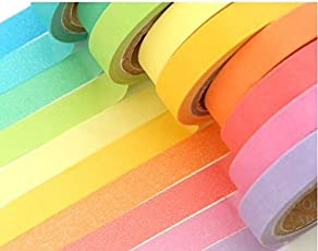 Shop Buzz Pack of 6 Neon Colour Paper Tape Roll (Colourful Decorative Adhesive) Length 5m Each with Assorted Colours